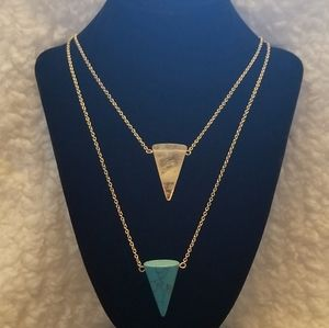 JS faux turquoise and raw crystal necklace